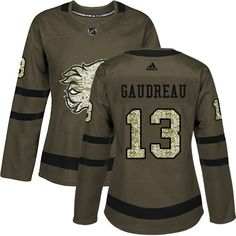 Adidas Calgary Flames  13 Women s Johnny Gaudreau Authentic Green Salute to  Service NHL Jersey Johnny a274d84c2