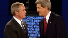 President Bush and then-Democratic presidential nominee John Kerry shake hands at the end of a presidential debate in 2004 in St. Louis. Researchers want to better understand why partisans' views of the facts change in light of their political loyalties. (AP)
