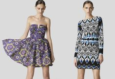 Erte and Nirvana, two printed summer dresses by Nicole Miller.