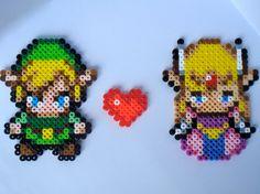 Link and Zelda Love -  Legend of Zelda Perler Bead Sprite Magnets. $10.00, via Etsy.