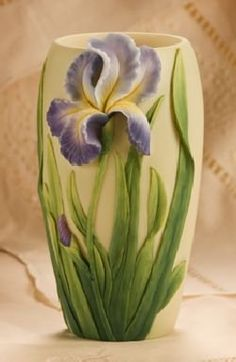 Bearded purplerrises on a vase