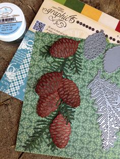 How lucky I was to receive the new Graphic 45 Twelve Days Of Christmas paper this week. Can you imagine a 12 x 12 page with a border of the Pinecones and Sprigs!! The dies I used are the Pincone nr 766 and Sprig 765. Colors of glitter are the Forest Green nr 633, Rust nr 611, Antique Gold nr 606 and our double sided adhesive.
