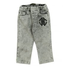 aa6cd4a505 Roberto Cavalli Junior Baby Boy s Grey Jeans with Printed Logo. Available  now at www.
