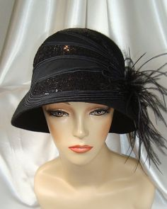 Black Wool and Sequin 1920s Cloche Hat Lady by LadyKatherineHats