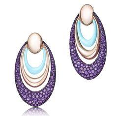 #amethyst #rosegold #turquoise #earrings 🐬💜🐬💜🐬💜🐬 @degrisogono #degrisogono  #ellipse #pure #chic #summervibes