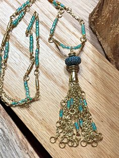 Turquoise Tassel Necklace and Earring set, Tassel Jewelry, Brass Necklace, Seed bead Necklace, Boho Necklace, Handmade Jewelry #turquoisejewelry