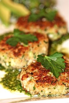 Crab cakes with lime cilantro sauce.