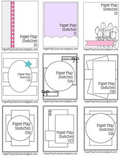 Paper Play Sketches - Sketch Templates - Ideas of Sketch Templates - Pause Dream Enjoy: Janis' Card Sketches Kiwi Lane Designs, Logos Retro, Card Making Templates, Box Templates, Banner Template, Karten Diy, Cricut Cards, Card Making Techniques, Card Patterns