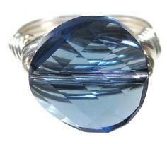 Denim Blue Swarovski Ring  Any Size  Size 4 5 6 7 8 by AllTwisted, $15.00
