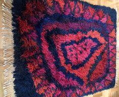 Excited to share this item from my shop: Modernist wool rya rug vintage crafts. Rya Rug, Wool Rug, Shades Of Dark Blue, Mid Century Rug, Swedish Design, Vintage Crafts, Loom Weaving, Vintage Wool, Rug Hooking