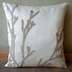 Silver Willow - Throw Pillow Covers - 18x18 Inches Silk Pillow Cover with Bead Embroidery