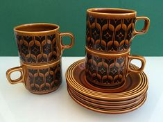 Your place to buy and sell all things handmade Hornsea Pottery, Autumnal, Black Pattern, Uk Shop, Cup And Saucer, 1970s, Cups, Ceramics, Retro