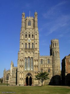 """Ely Cathedral, Ely, East Cambridgeshire, England, UK. Construction of the cathedral was begun by William the Conqueror in 1083, with it finally opening in 1189 after 116 years. It was completed in 1351. John Wesley wrote of his 1774 visit to Ely that """"the cathedral, [is] one of the most beautiful I have seen. The western tower is exceedingly grand, and the nave of an amazing height"""".  