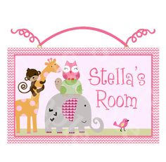 """Personalized with any Name or Text """"Sprinkles/Girl Animals/Elephant/Giraffe/Turtle/Monkey/Owl"""" Wood Door Sign/Plaque Nursery Decor/Baby/Kids"""