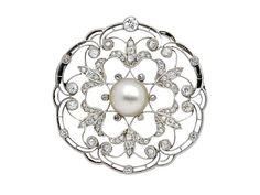 Antique Split-Pearl and Diamond Brooch, circa 1910