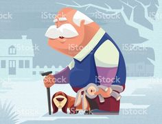 old man walking with dog illustracion libre de derechos libre de derechos