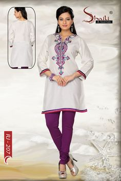 Sophisticated Harlequin Art Silk Embroidered Tunic by Snehal Creation