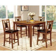 Furniture of America Malvin Industrial 5-Piece Counter Height Table Set, Light Oak