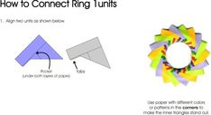 Mette Unit Ring 1 - Diagrams for folding the units and assembly.