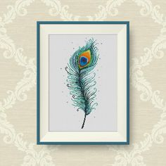BUY 2, GET 1 FREE! Peacock Feather Cross Stitch Pattern, pdf counted cross stitch pattern, Modern Cross Stitch Chart, P193 by NataliNeedlework on Etsy
