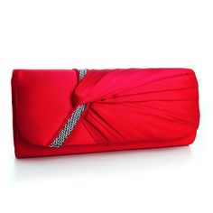 Pleated Satin Evening Bag Clutch with Sequin Accents - Red