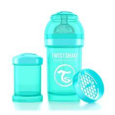 Deze turquoise Twistshake babyfles heeft een flesinhoud van ruim 180ml en wordt standaard geleverd met een turquoise melkpoederdoosje waar ongeveer 8 schepjes flesvoeding in kunnen. Ook is de fles uitgerust met een reisdop zodat je baby's fles hygiënisch vervoert kan worden.