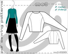 PDF Sewing Patterns for Women Raglan Bodice Princess Panel Sloper Block > by mc2patterns >  S-M-L Small-Medium-Large mc2-012003