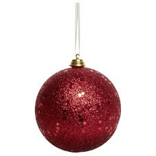 Wilko Christmas Bauble Decoration Red Glitter 80mm