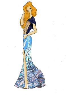 """Croquis réalisé par Milouch GOTTE (mon modèle préféré). Top bleu marine sur les manches et le dos avec un imprimé """"corde"""" au devant. Jupe longue avec une fente très vaporeuse et légère"""