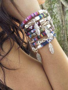 Tessuto piuma bohemien braccialetto nativi americani