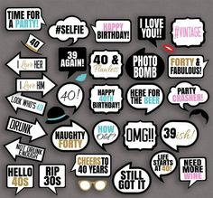 35 x 40th Birthday Photo Booth Prop Printables