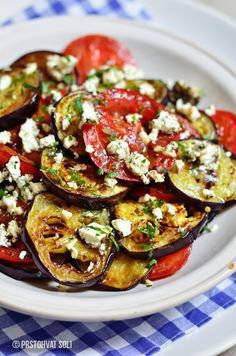 salad-with-grilled-tomato and aubergine
