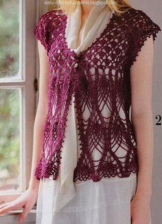 Crochet vest. Charted pattern.