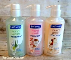 Softsoap Hand Wash Plus Lotion - LOVE these liquid hand soaps! They make my hands feel super-smooth & soft!