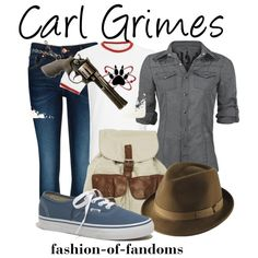 """""""Carl Grimes (The Walking Dead)"""" by fofandoms on Polyvore Chandler Riggs, Walking Dead Clothes, The Walking Dead 3, Fandom Fashion, Nerd Fashion, Carl Grimes, Character Inspired Outfits, Fandom Outfits, Casual Cosplay"""