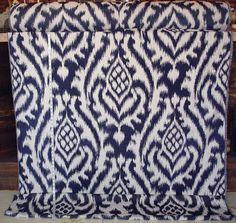Ikat fabric upholstery indigo blue from Brick House Fabric: Novelty Fabric