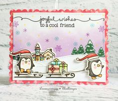 Lawnscaping Challenge 120 : Lawn Fawn Toboggan Together & Ready, Set, Snow Christmas Card