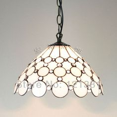 mobile site-White Clear Beads Tiffany Lamp Pendant Lights Stained Glass Lamp Handed Crafted hanging fixtures Simple Design W12""