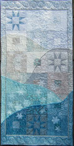 Winter Frost Teal Taupe White Couched Art Quilt by derstinedesigns