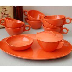 Vintage orange tea set