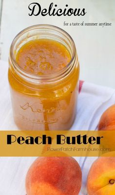 An easy recipe for Delicous Peach Butter. Make up a batch to slather on biscuits… An easy recipe for Delicous Peach Butter. Make up a batch to slather on biscuits, waffles, anything really. A great way to get a taste of Summer anytime. Jelly Recipes, Jam Recipes, Canning Recipes, Fruit Recipes, Dessert Recipes, Desserts, Canning 101, Home Canning, Healthy Recipes