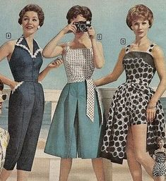 1958 summer jumpsuit and playsuits with skirts - vintage summer outfits outfits vintage shorts vintage dress vintage fashion vintage outfits summer beach dress summer beach wear summer dress flowers - Vintage Outfits -Summer Vintage Dresses 2019 Moda Vintage, Vintage Stil, Vintage Mode, 50s Vintage, Vintage Pins, Vintage Fashion 1950s, Retro Fashion, 1950s Summer Fashion, Fashion 1920s