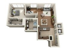 1 bathroom apartment with possible office spacr Studio Apartment Layout, Small Apartment Interior, Apartment Design, Home Interior Design, House Plans Mansion, House Floor Plans, Pool House Designs, Apartment Floor Plans, House Blueprints