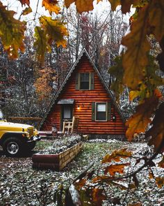 Cabins And Cottages: A-frame in the woods and log siding exterior Log Siding, Exterior Siding, A Frame Cabin, A Frame House, Cabin Homes, Log Homes, Cabin In The Woods, Getaway Cabins, Autumn Cozy