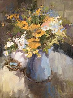 Wildflowers With Nest by Janette Jones Oil ~ 24 x 20