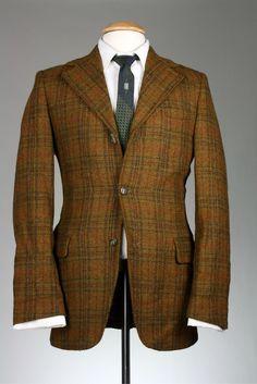 Vintage 60s Brown Windowpane Check TWEED Wool 41 L Jacket/Blazer