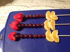 """""""Cupid's Love Arrow"""" fruit kabobs. I made these for a school valentine's day party for a healthy sweet treat. The kids loved them."""