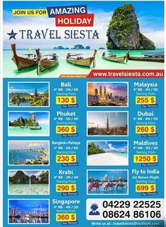 Are looking for International holidays from Australia? Travel Siesta is a leading Australia based tour operator offering wide range of international holiday packages International Holidays, Cheap Air Tickets, Flight Tickets, Holiday Packages, Holiday Deals, Tour Operator, Pattaya, Train Travel, Holiday Destinations