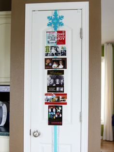 Creative Ways to Display Holiday Cards- Attached to Ribbon on a Door Get the how-to at I Heart Organizing http://iheartorganizing.blogspot.com/2011/12/happy-holidays-christmas-card-display.html