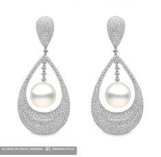 yoko london micropave diamond and pearl earrings